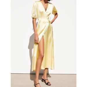 ZARA Yellow Satin Short Sleeve Wrap Dress!!
